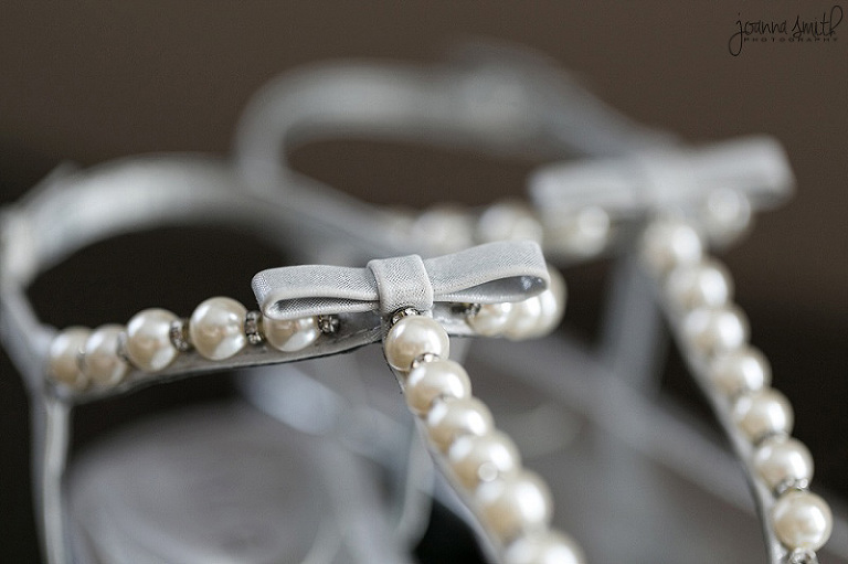 Wedding detail shot, bride's shoes, pearls, Chicago weddings